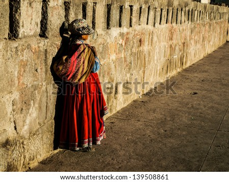 Paruvian woman (Peru, South America) - stock photo