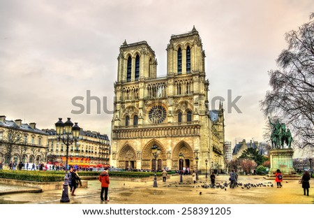 Parvis Notre-Dame - Jean-Paul-II square in Paris, France - stock photo