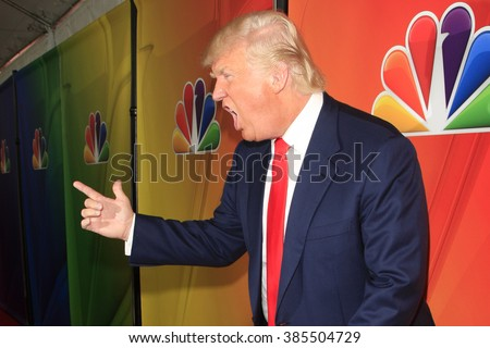 PASADENA, CA - JAN 16: Donald Trump at the NBCUNIVERSAL 2015 Winter TCA Press Tour at The Langham Huntington Hotel on January 16, 2015 in Pasadena, CA - stock photo
