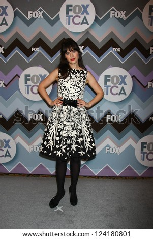 PASADENA, CA  - JAN 8:  Zooey Deshanel attends the FOX TV 2013 TCA Winter Press Tour at Langham Huntington Hotel on January 8, 2013 in Pasadena, CA - stock photo