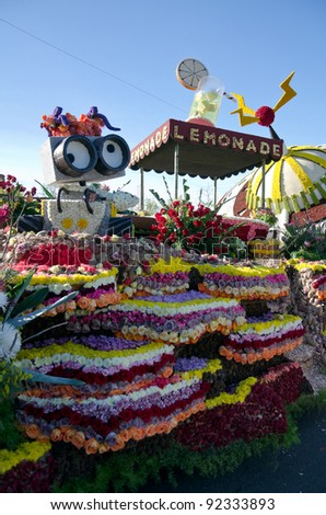 PASADENA, CA - JANUARY 3: City of South Pasadena Float participated in the 123rd Tournament of Roses Parade and was on display on January 3, 2012 in Pasadena, California.