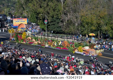 PASADENA, CA - JANUARY 2: Natural Balance Pet Foods Float called: Surfs Up, participated in the 123rd Tournament of Roses Parade on January 2, 2012 in Pasadena, California.
