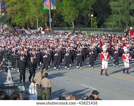 PASADENA, CA - JANUARY 1: Ohio State University's Marching Band preforming in the 121st Tournament of Roses Parade on January 1, 2010 in Pasadena, California. - stock photo