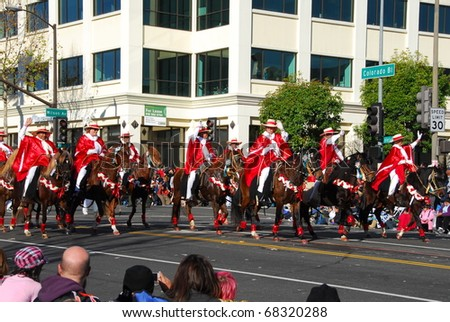PASADENA, CA  - JANUARY 1: Southern California Peruvian Paso Horse Club riders at the 122nd tournament of roses Rose Parade on January 1 2011 in Pasadena California - stock photo