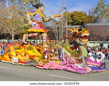 "PASADENA, CA - JANUARY 1: The China Airlines float from Taiwan themed ""Taiwan's Guardian, The Third Prince,"" was displayed in the Rose Bowl Parade on January 1, 2010 in Pasadena, California."
