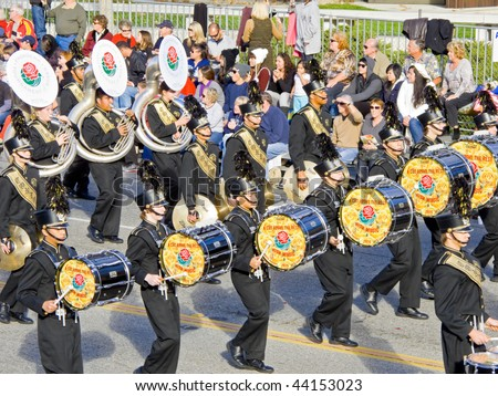 PASADENA, CA - JANUARY 1: The Conroe Tiger Band Marching Band proudly preformed in the 121st Tournament of Roses Parade on January 1, 2010 in Pasadena, California. - stock photo