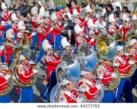 PASADENA, CA - JANUARY 1: The Los Angeles Unified School District Marching Band preformed in the 121st Tournament of Roses Parade on January 1, 2010 in Pasadena, California. - stock photo