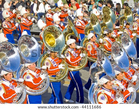 PASADENA, CA - JANUARY 1: The Los Angeles Unified School District Marching Band proudly preformed in the 121st Tournament of Roses Parade on January 1, 2010 in Pasadena, California. - stock photo
