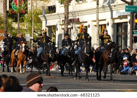 PASADENA, CA - JANUARY 1: The new buffalo soldiers riders at the 122nd tournament of roses Rose Parade on January 1 2011 in Pasadena California - stock photo