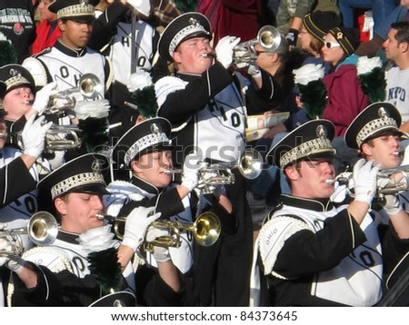 PASADENA, CA - JANUARY 1: The Ohio University Marching Band preformed in the 121st Tournament of Roses Parade on January 1, 2010 in Pasadena, California. - stock photo