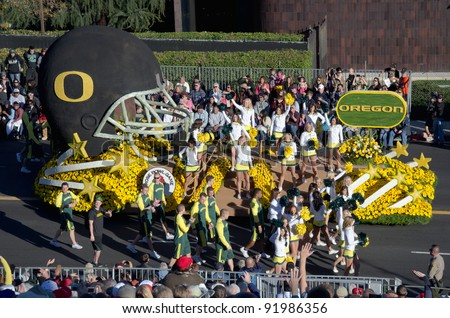PASADENA, CA - JANUARY 2: The University of Oregon float participated in the 123rd Tournament of Roses Parade on January 2, 2012 in Pasadena, California. - stock photo