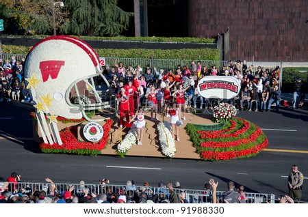 PASADENA, CA - JANUARY 2: The University of Wisconsin float was seen in the 123rd Tournament of Roses Parade on January 2, 2012 in Pasadena, California. - stock photo
