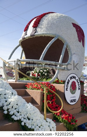 PASADENA, CA - JANUARY 3: The University of Wisconson Float, participated in the 123rd Tournament of Roses Parade and was on display on January 3, 2012 in Pasadena, California. - stock photo