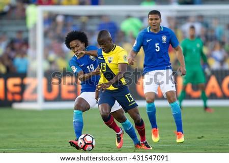 PASADENA, CA - JUNE 4: Enner Valencia & Willian during the COPA America game between Brazil & Ecuador on June 4th 2016 at the Rose Bowl in Pasadena, Ca. - stock photo