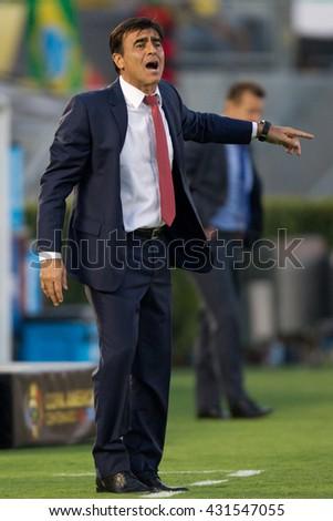 PASADENA, CA - JUNE 4: Gustavo Quinteros during the COPA America game between Brazil & Ecuador on June 4th 2016 at the Rose Bowl in Pasadena, Ca. - stock photo