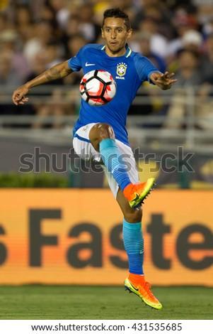 PASADENA, CA - JUNE 4: Marquinhos during the COPA America game between Brazil & Ecuador on June 4th 2016 at the Rose Bowl in Pasadena, Ca. - stock photo