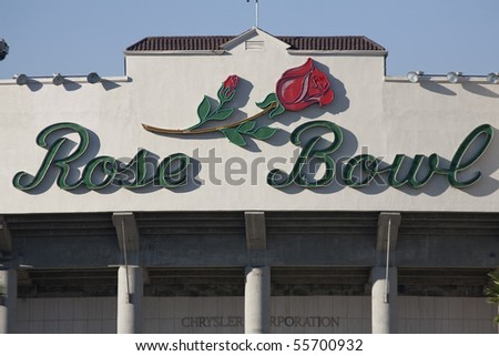 PASADENA, CA - OCTOBER 17: The world famous Rose Bowl football stadium on October 17, 2009 in Pasadena, CA.  It is home to the UCLA Bruins and an NCAA tournament bowl. - stock photo