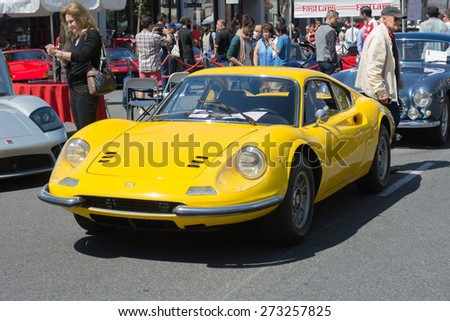 Pasadena, CA - USA - April 26, 2015: Ferrari Dino 246 GT car on display at the 8th Annual Ferrari Concorso car event - stock photo