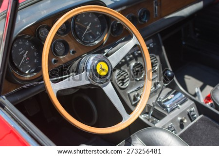 Pasadena, CA - USA - April 26, 2015: Ferrari interior car on display at the 8th Annual Ferrari Concorso car event - stock photo