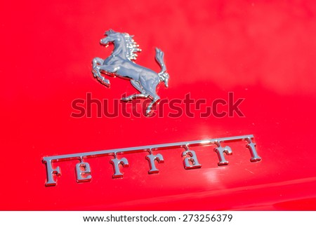 Pasadena, CA - USA - April 26, 2015: Ferrari logo car on display at the 8th Annual Ferrari Concorso car event - stock photo