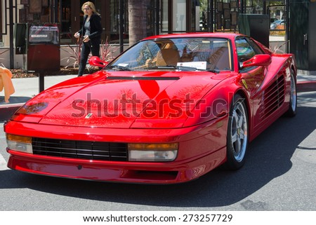 Pasadena, CA - USA - April 26, 2015: Ferrari Testarossa car on display at the 8th Annual Ferrari Concorso car event