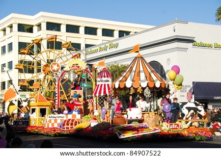 PASADENA, CA/USA - JANUARY 1: A State Fair To Remember Discover financial services float at the 122nd tournament of roses Rose Parade on January 1 2011 in Pasadena California - stock photo