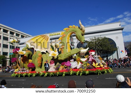 PASADENA, CA/USA - JANUARY 1: Afternoon tea with friends float at the 122nd tournament of roses Rose Parade on January 1, 2011 in Pasadena California - stock photo