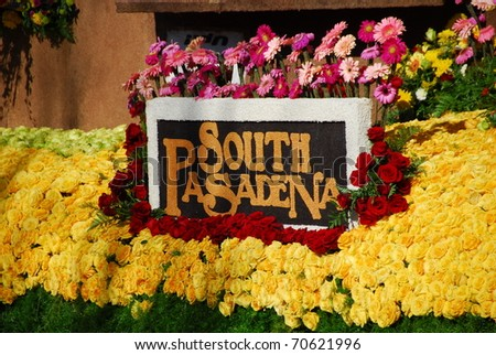 PASADENA, CA/USA - JANUARY 1: backyard adventures south Pasadena float at the 122nd tournament of roses Rose Parade on January 1, 2011 in Pasadena California - stock photo
