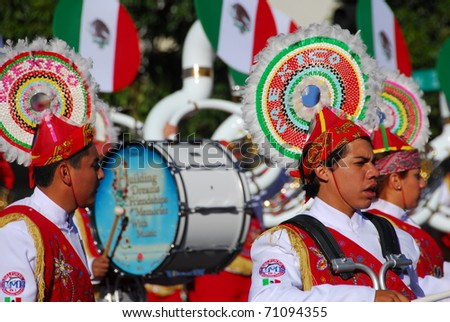 PASADENA, CA/USA - JANUARY 1: Banda Musical Delfines Xalapa Veracruz Mexico marching band at the 122nd tournament of roses Rose Parade on January 1 2011 in Pasadena California - stock photo
