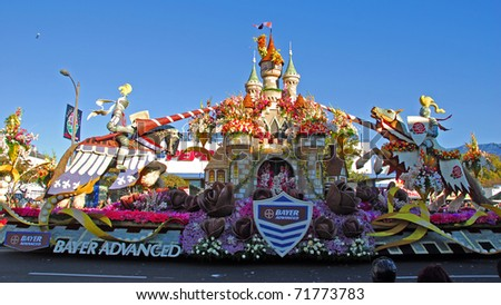 PASADENA, CA/USA - JANUARY 1: Bayer Advanced Camelot Float at the 122nd tournament of roses Rose Parade on January 1 2011 in Pasadena California - stock photo
