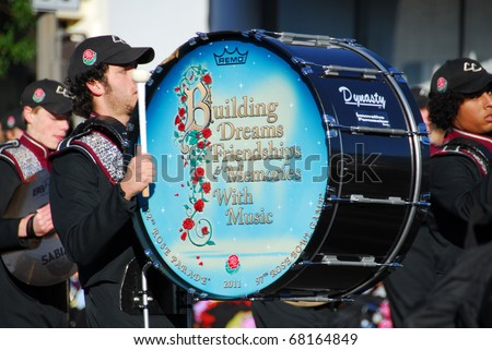PASADENA, CA/USA - JANUARY 1: Central Carrol High School Marching Pride Carrollton Georgia Marching Band from Haltom City Texas at the 122nd Rose Parade on January 1 2011 in Pasadena California - stock photo