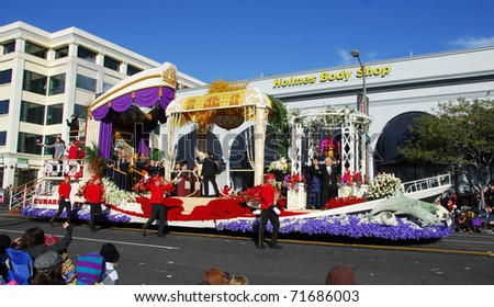 PASADENA, CA/USA - JANUARY 1: cunard line a grand celebration at sea float at the 122nd tournament of roses Rose Parade on January 1 2011 in Pasadena California