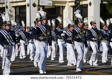 PASADENA, CA/USA - JANUARY 1: Downington Pennsylvania High School blue and gold marching band at the 122nd tournament of roses Rose Parade on January 1, 2011 in Pasadena California - stock photo