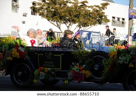 PASADENA, CA/USA - JANUARY 1: Grand Marshal rides at the 122nd tournament of roses Rose Parade on January 1 2011 in Pasadena California - stock photo