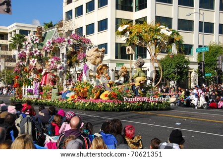 PASADENA, CA/USA - JANUARY 1: Kaiser Permanente Purrfectly Healthy float at the 122nd tournament of roses Rose Parade on January 1, 2011 in Pasadena California - stock photo