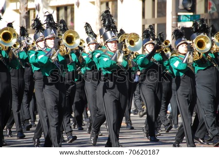 PASADENA, CA/USA - JANUARY 1: Lindbergh High School Spirit Of St Louis Marching Band from St Loius MO performs at the 122nd tournament of roses Rose Parade on January 1, 2011 in Pasadena California - stock photo