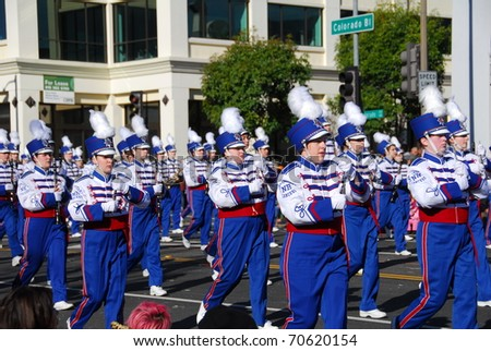 PASADENA, CA/USA - JANUARY 1: Londonderry high school marching lancer band and color guard New Hampshire performs at the 122nd tournament of roses Rose Parade on January 1, 2011 in Pasadena California - stock photo