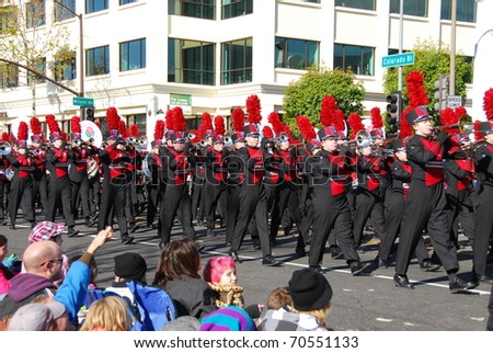 PASADENA, CA/USA - JANUARY 1: Owasso High School Owasso Oklahoma marching band at the 122nd tournament of roses Rose Parade on January 1, 2011 in Pasadena California