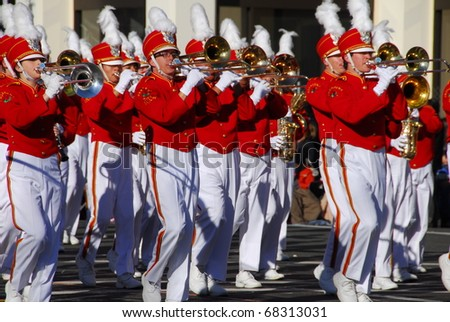 PASADENA, CA/USA - JANUARY 1: Pasadena City College Tournament Of Roses Honour Band plays at the 122nd tournament of roses Rose Parade on January 1 2011 in Pasadena California - stock photo