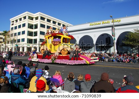 PASADENA, CA/USA - JANUARY 1: Shriners hospital for children changing the world through caring for kids float at the 122nd tournament of roses Rose Parade on January 1 2011 in Pasadena California - stock photo