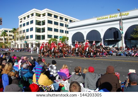 PASADENA, CA/USA - JANUARY 1: Southern California Peruvian Paso Horse Club riders at the 122nd tournament of roses Rose Parade on January 1 2011 in Pasadena California - stock photo