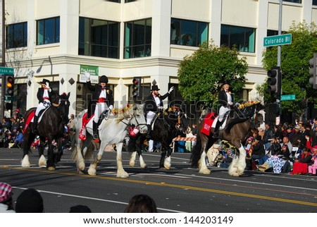 PASADENA, CA/USA - JANUARY 1: The Shire Riders at the 122nd tournament of roses Rose Parade on January 1 2011 in Pasadena California - stock photo