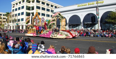 PASADENA, CA/USA - JANUARY 1: what a friend we have in Jesus Lutheran Laymen's league float at the 122nd tournament of roses Rose Parade on January 1 2011 in Pasadena California - stock photo