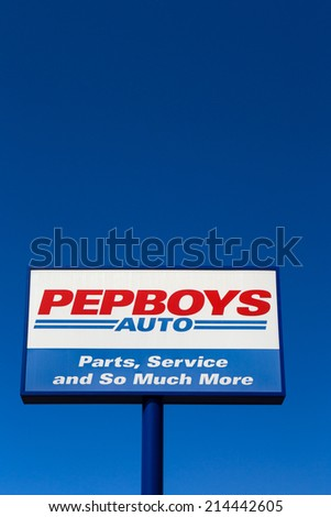 PASADENA, CA/USA - SEPTEMBER 1, 2014: Pep Boy auto repair and parts sign. Pep Boys is a full-service and tire automotive aftermarket chain.