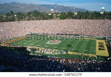 PASADENA, CALIFORNIA - CIRCA 1999: Opening kickoff at 77th Rose Bowl Game in Pasadena, California - stock photo