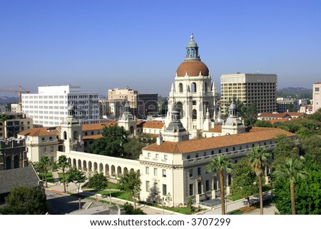 Pasadena City Hall - listed on the National Register of Historic Places. - stock photo