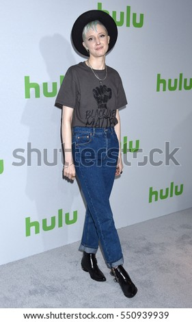 PASADENA - JAN 7:  Andrea Riseborough arrives to the Hulu's TCA All Stars Party  on January 7, 2017 in Pasadena, CA