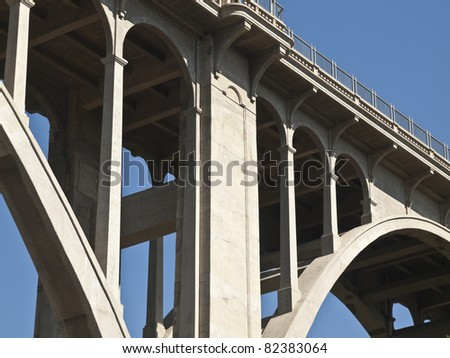 Pasadena's historic Colorado Blvd Bridge in southern California. - stock photo