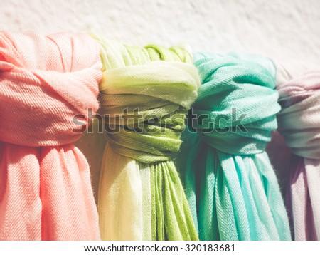 pashminas in a market - stock photo