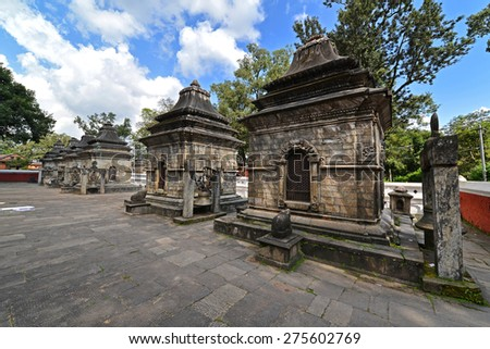 PASHUPATINATH - OCTOBER 10: Ancient Hindu temple, now collapsed after the earthquake that hit Nepal on April 25, 2015. On October 10, 2013 in Pashupatinath, Nepal